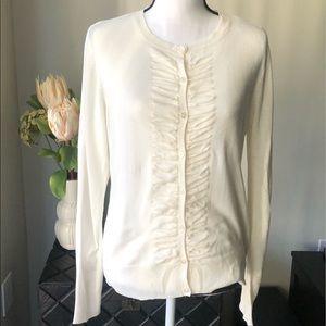 NY & COMPANY - Size L Cream Cardigan - Front Folds